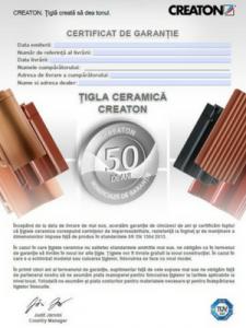 Certificat de garanție - Țiglă Ceramică Creaton