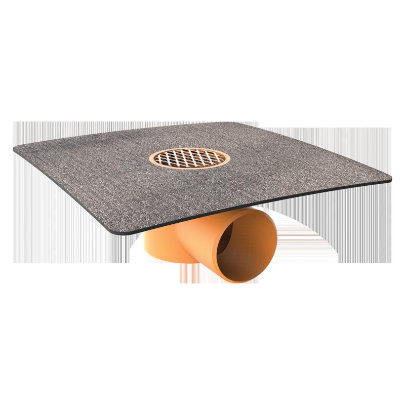 Receptor TOPWET pentru balcoane cu flanşă integrată bituminoasă, ieşire orizontală,cu grătar de protecţie